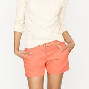 J. Crew chino shorts in coral pink